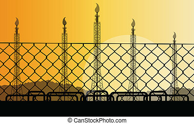 Wired fence and oil refinery industrial factory desert landscape illustration background vector concept