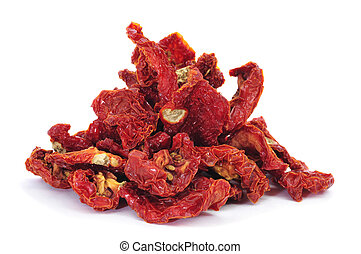 sun-dried tomatoes - a pile of sun-dried tomatoes on a white...
