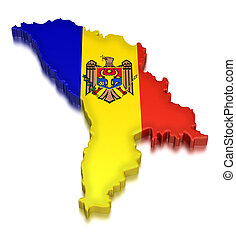 Moldova (clipping path included) - Map of Moldova. 3d render...