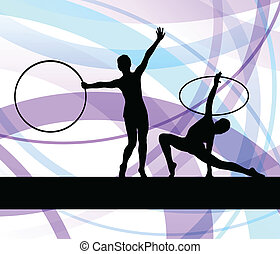 Rhythmic gymnastic background woman with hoop ring vector...