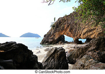 Nature stone arch at Ko Khai island,Lipe, southern of...