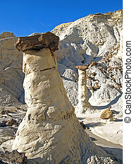 Hoodoos - Unusual rock formations in a sandstone desert.