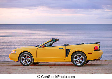 Yellow sport car cabriolet