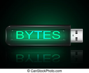 Byte concept. - Illustration depicting a usb flash drive...