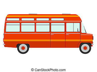 Minibus - Retro minibus on a white background