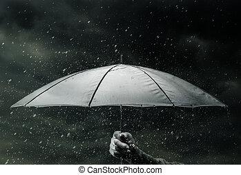Umbrella under raindrops - Umbrella in hand under raindrops...
