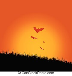 bat in the nature vector illustration