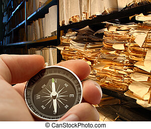 Hand with stopwatch in archive