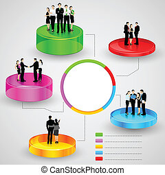 Business People standing over Business Graph - easy to edit...