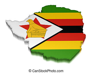 Zimbabwe clipping path included - Map of Zimbabwe 3d render...
