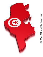 Tunisia (clipping path included) - Map of Tunisia. 3d render...