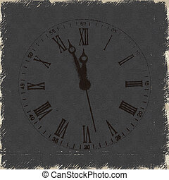 Old clock with roman numbers grunge background