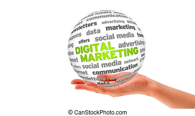 Digital Marketing Word Sphere - A person holding a 3D...