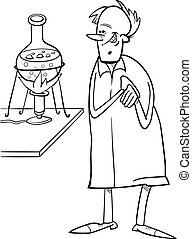 scientist in laboratory coloring page - Black and White...