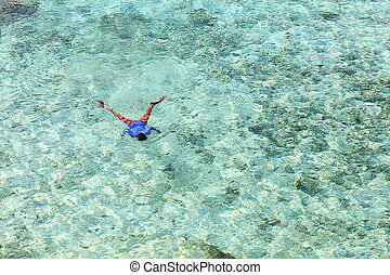 A man snorkelling on the ocean