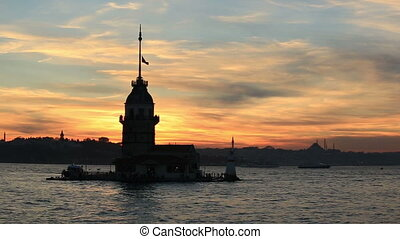 Maiden Tower at sunset time pan shoot