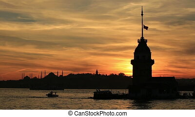 Maiden Tower - time lapse Maiden Tower at sunset time