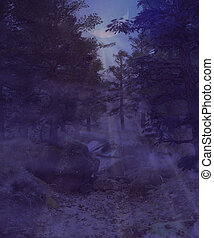 Dark foggy forest - Dark spooky forest at night time with...