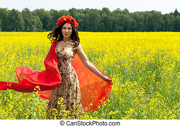 bello, il portare, brunetta, estate, giovane, fiore, limare, ragazza,  chaplet
