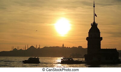 Maiden Tower at sunset time