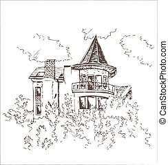 Old building sketch - Sketch of the old building with tiled...