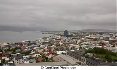 Reykjavik, Iceland - Aerial view time lapse of downtown in...