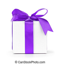 paper gift box wrapped with purple ribbon, isolated on white