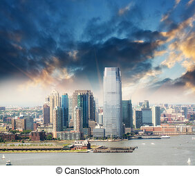 Jersey City skyline, New Jersey. Beautiful summer view.