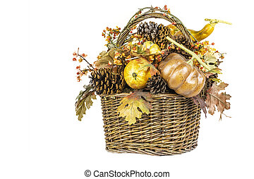 Fall Harvest Basket Isolated - A fall themed harvest basket...