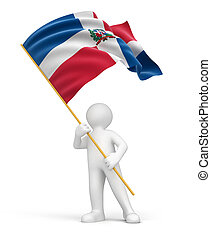 Man and Dominican Republic flag Image with clipping path