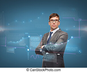 attractive businessman in glasses - business, new technology...