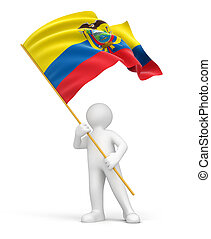 Man and Ecuadorian flag - Man and Ecuadorian flag. Image...
