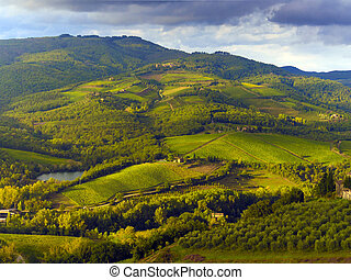 countryside in Tuscany, Italy - rolling hill in the Tuscany...