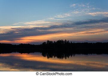 Sunset on the north - White night in Karelia: summer sunset...