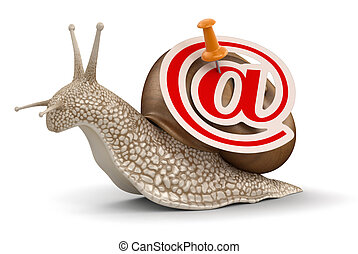 Snail and e-mail Image with clipping path