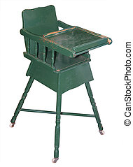 Old Chipped Wooden Highchair - Old Chipped Wooden Highchair...