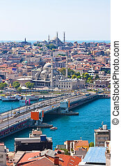 Golden Horn in Istanbul - Galata Bridge over Golden Horn,...