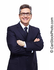 Business man. - Handsome Business man isolated over white...