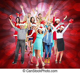 Christmas party. - Group of happy dancing people. Christmas...