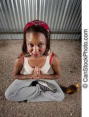 Cigar smoking and drinking woman meditating - Woman...