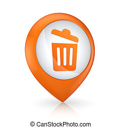 GPS icon with symbol of trashcan. - GPS icon with symbol of...