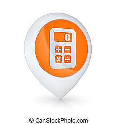 GPS icon with symbol of calculator. - GPS icon with symbol...