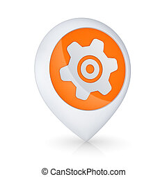 GPS icon with symbol of gear - GPS icon with symbol of gear,...