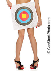 Naked woman with a target