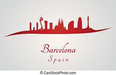 Barcelona skyline in red and gray background in editable...