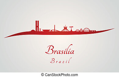 Brasilia skyline in red and gray background in editable...