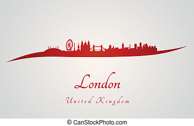 London skyline in red and gray background in editable vector...