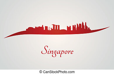 Singapore skyline in red and gray background in editable...