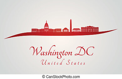 Washington DC skyline in red and gray background in editable...