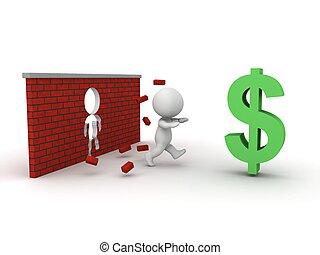 3D, homem, Executando, através, tijolo, parede, t